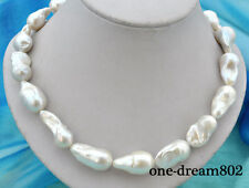 """18.5"""" 30mm baroque white reborn keshi pearl necklace"""