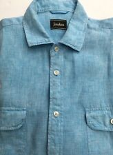 Neiman Marcus Mens Shirt Linen Blue Short Sleeves Casual Summer L