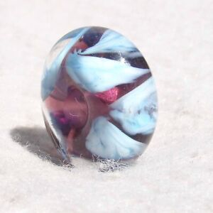 EIDER Handmade Large-Hole Glass Bead Flaming Fools Lampwork Art Glass SRA