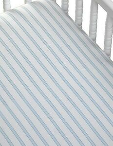 NEW COCALO BABY BOY'S CRIB FITTED STRIPED STARLIGHT BLUE SHEET.