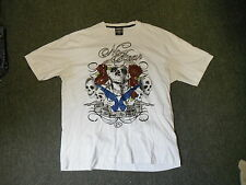 No Fear Extra Extra Large Mens White Skull & Guns Casual Dress T Shirt