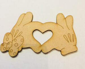 Mdf Mickey And Minnie Hands Love Size 110mm x 70mm Craft Blank Wooden 3 Mm Mdf