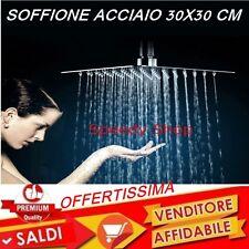 Soffione doccia quadrato in acciaio inox a pioggia moderno doccione 30x30cm