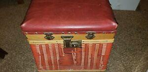 Vintage Antique Fishing Stool Creel Tackle Box