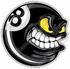 "Eight Ball Angry Black Billiard Pool Cue Car Bumper Vinyl Sticker Decal 4.6"""