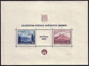 CZECHOSLOVAKIA, 1937, SG MS377a, PHILATELIC EXHIBITION, BRATISLAVA.