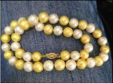 "18"" AAA 9-10 MM SOUTH SEA NATURAL white golden PEARL NECKLACE 14k"