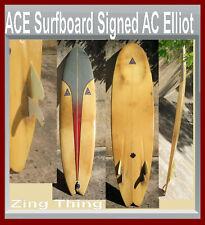"Surfboard Ace Zing Thing 7'6"" Ac Elliot Custom Shape Design Ocean beach Ca 4 Fin"