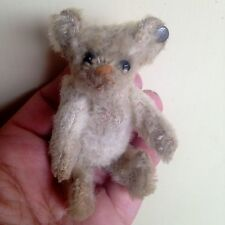 "VERY RARE ANTIQUE C.1910 Steiff 3.5"" MINIATURE WHITE MOHAIR Bear OLD FF BUTTON"