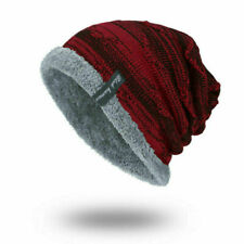 Red Winter Beanies Slouchy Chunky Hat for Men Women Warm Soft Skull Knitting
