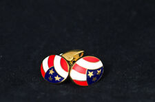 American Flag 18ct Yellow Gold Oval Shaped Cufflinks by Deakin and Francis