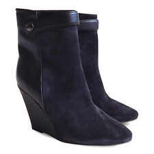 NEW $1318 ISABEL MARANT Purdey Suede/Leather Wedge Booties - Black - Size 36