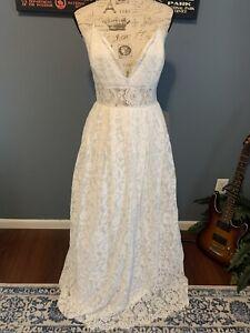 Asos White Lace Spaghetti Strap Wedding Gown Size 12