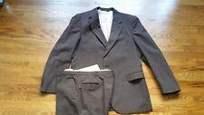 Johnny Carson Mens  44R & 36x34 Dark Brown Stripes 2 Button Suit Jacket & Pants