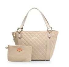 MZ WALLACE $325 Small Quilted Ava Nylon Flax Bedford Tote Bag Beige Leather~NWT