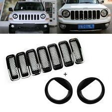 9pcs Black Front Grille Mesh Insert Headlight Covers Trim Set For Jeep Patriot