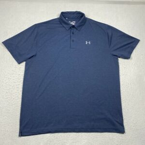 Under Armour Loose Heat Gear Mens XL Blue Striped Short Sleeve Polo