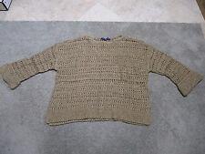 NEW Ralph Lauren Polo Knitted Sweater Womens Medium Brown Silk Blend Shirt RARE