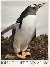 Vintage John G. Shedd Aquarium Oceanarium Poster Penguin Chicago IL Souvenir