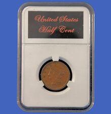 Elite Slab Coin Holder US Half Cent Piece Etched Metal Label Little Bear