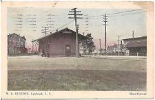 Railroad Station in Lynbrook Long Island NY Postcard 1941