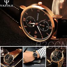 Men's Luxury Classic Leather Glass Quartz Analog Wrist Watch Noctilucent Watches