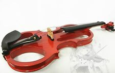 New 4/4 Size, Basswood Electronic Violin with CASE + BOW + ROSIN, Red Color