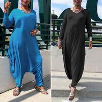UK Women's Playsuit Drop Drape Ladies Baggy Lagenlook Harem Long Sleeve Jumpsuit