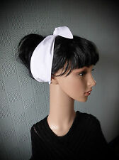 White hair scarf, retro fifties headband, forties head scarf/bandana hair tie up
