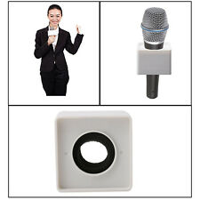 White ABS Mic Microphone Interview Square Cube Logo Flag Station 37mm Hole New