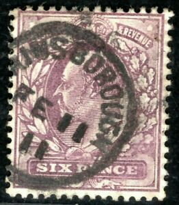 GB KEVII Stamp SG.246a 6d Slate-Purple DLR CHALKY Used 1911 CDS Cat £22+ ORED119