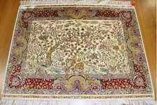 4' X 3' Ivory Wildlife Wall Art Work Ideal Decorative Accent Handmade Silk Rug