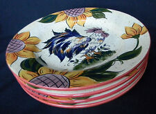 Tabletops Lifestyles Big Rooster Hand-Painted Art Pottery Salad Plates Set of 4
