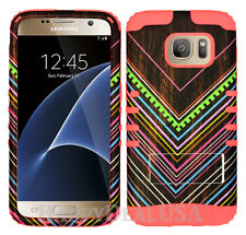 Hybrid Rugged Silicone Cover Case for Samsung Galaxy S7 MPK/Rainbow Line Wood 49