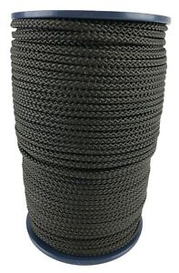 6mm Black Braided Polypropylene Poly Rope Cord Paracord Drawstring Sailing