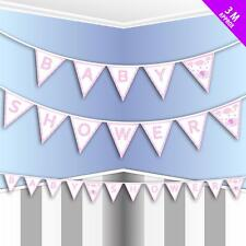 Pink & White Girl's Baby Shower Paper Bunting Decoration - 9.8Ft / 3M Long  New