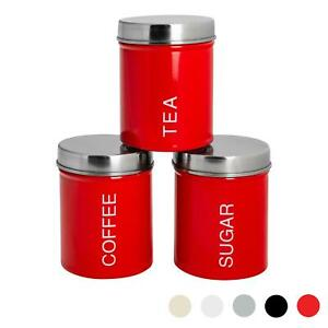 3x Tea Coffee Sugar Canisters Storage Set Kitchen Jars Containers Metal Red