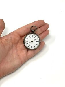 Very Good Antique Victorian Solid Silver Key Wind Mid Size Pocket Watch 40g #676