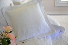 Square white stitch embroidered cushion cover with ties