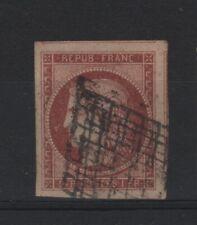 "France Stamp Yvert 6A Scott # 9b "" Ceres 1F Red Brown 1849 "" Used Vf Signed V138"