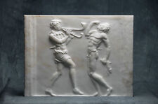 Dancing satyrs relief carved MARBLE plaque artist ancient Roman sculpture bust