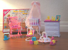 Gloria Dollhouse Furniture Size Baby Home Nursery W/ Crib Play Set For Dolls