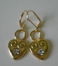 Earrings Heart Swirl 14 KT Gold Plated Leverback Made With Swarovski Crystals