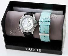 NEW GUESS LADY SILVER WATCH BLUE & BLACK STRAP G85908L
