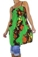 NEW (3972-4) Ladies Hot Holiday Print Tunic Dress Top Green One Size to fit 8-16
