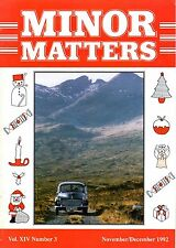 "MORRIS MINOR OWNERS CLUB MAGAZINE - ""MINOR MATTERS""   (November/Decemberl 1992))"