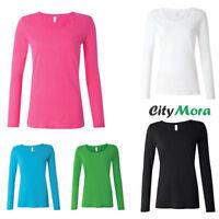 Anvil Women's Ladies Semi-Sheer Long Sleeve Scoopneck T-Shirt XS,S-L,XL,2XL 399