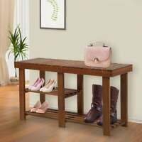 Entryway Bench With Shoe Storage  3-Tier Wood Rustic Space Saver New