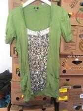 Fashion Union Size 14 Green Mock Shirt Cardigan Short Sleeve (T9)
