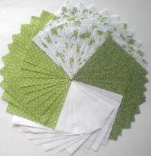 "40 - 4"" Green & White Cotton Quilt Fabric Squares Quilt Blocks Quilting 054"